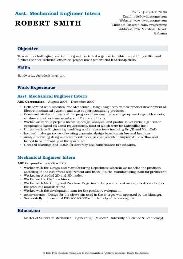 Asst. Mechanical Engineer Intern Resume Template