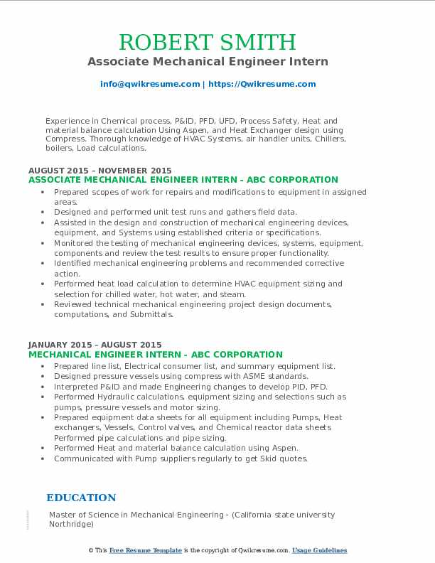 Associate Mechanical Engineer Intern Resume Format