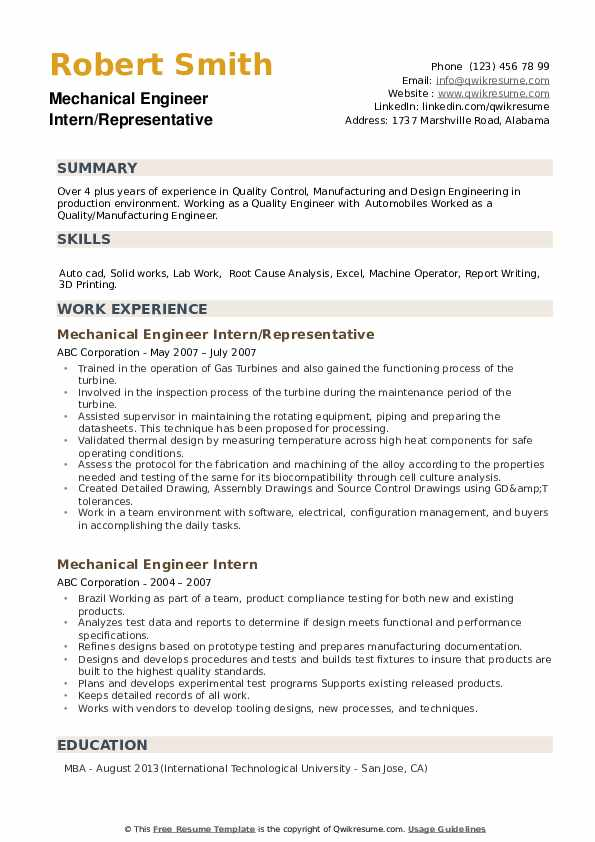 Mechanical Engineer Intern/Representative Resume Format