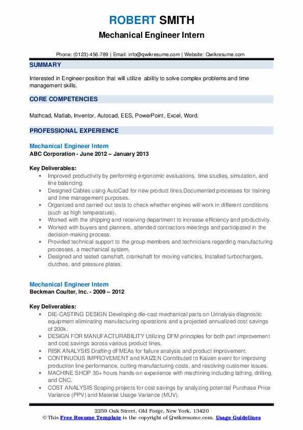 Mechanical Engineer Intern Resume example
