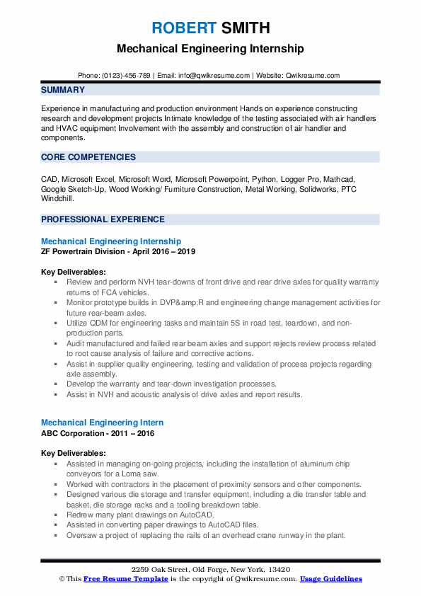 Mechanical Engineering Intern Resume Samples | QwikResume