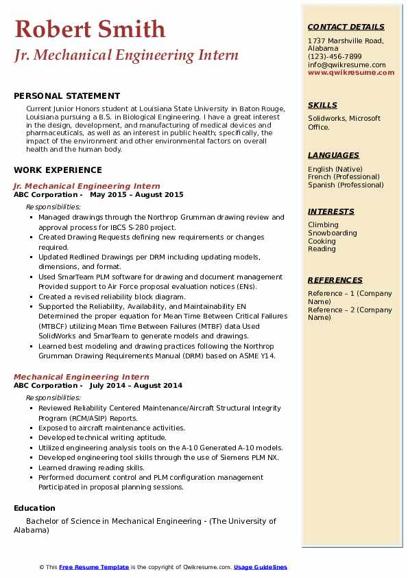 Mechanical Engineering Intern Resume Samples Qwikresume