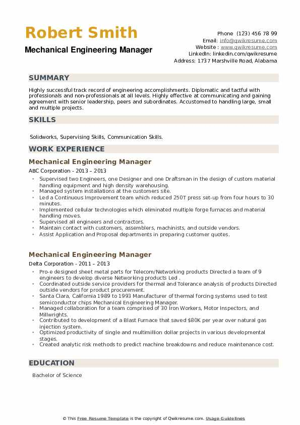 Mechanical Engineering Manager Resume example