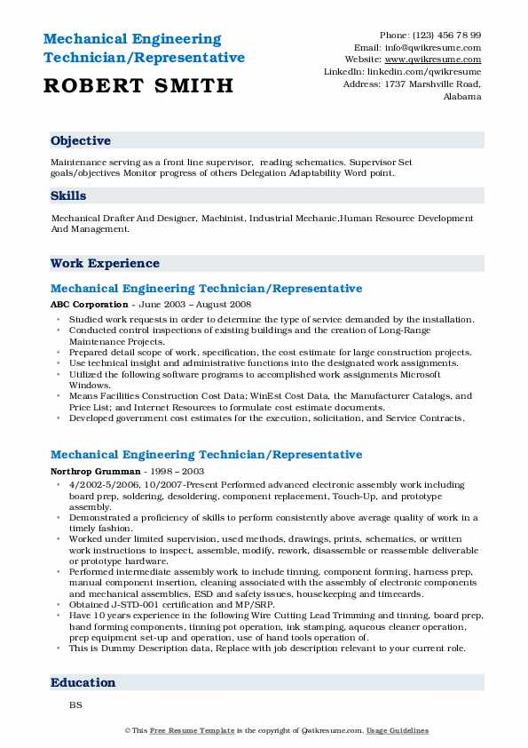 mechanical engineering technician resume samples  qwikresume