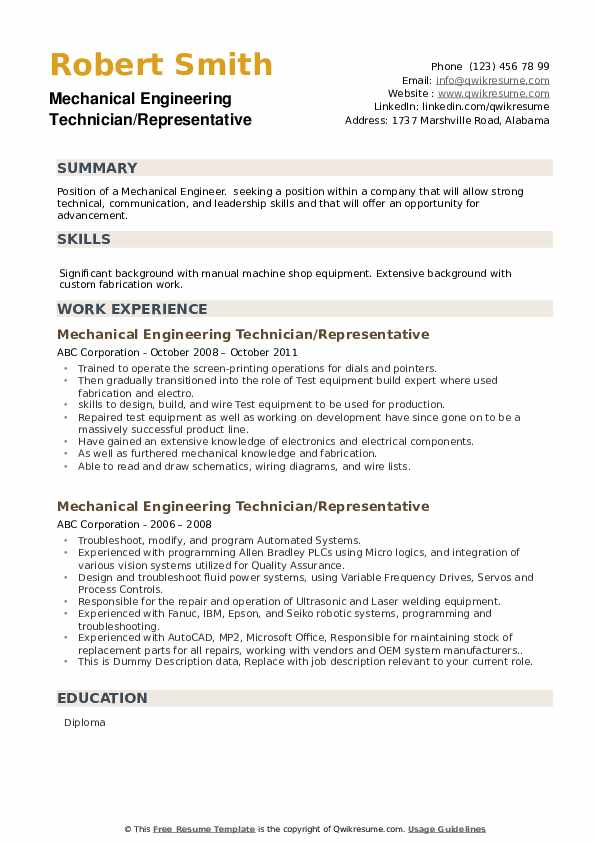 Mechanical Engineering Technician Resume Samples Qwikresume