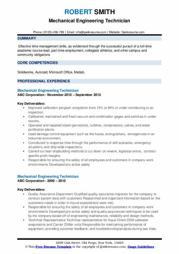 Mechanical Engineering Technician Resume example
