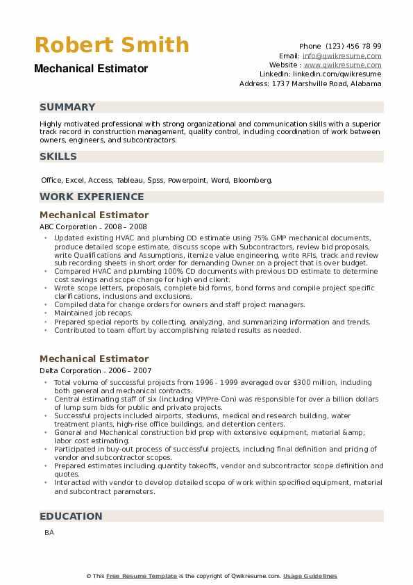 Mechanical Estimator Resume example
