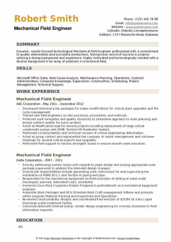 Mechanical Field Engineer Resume example