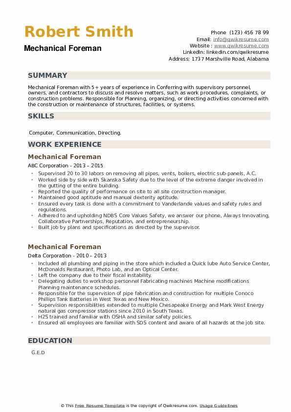 Mechanical Foreman Resume example