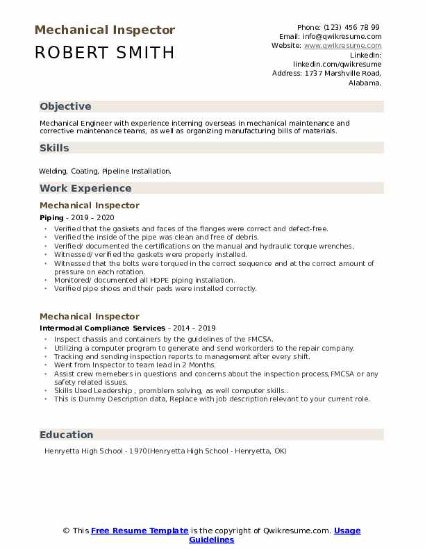 Mechanical Inspector Resume example