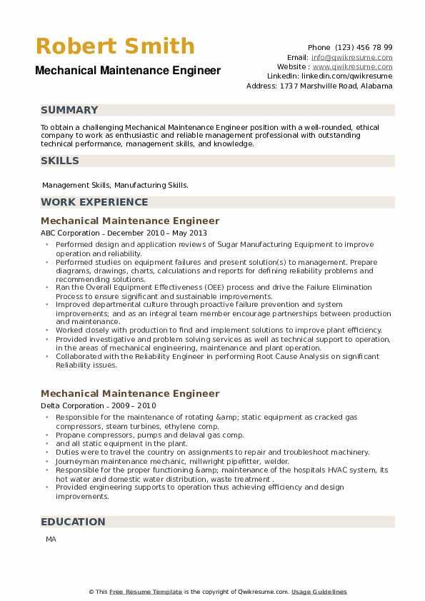Mechanical Maintenance Engineer Resume example