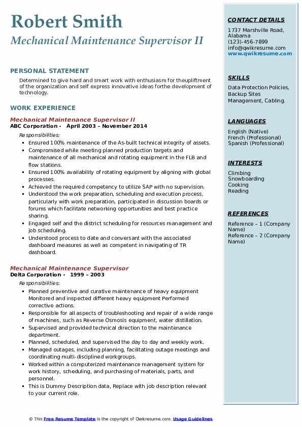 mechanical maintenance supervisor resume samples