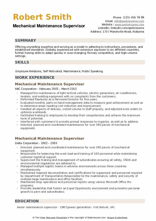 Mechanical Maintenance Supervisor Resume example