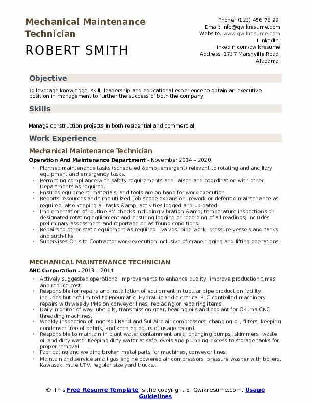 Mechanical Maintenance Technician Resume Samples