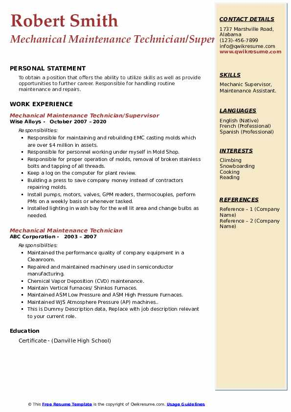 mechanical maintenance technician resume samples  qwikresume