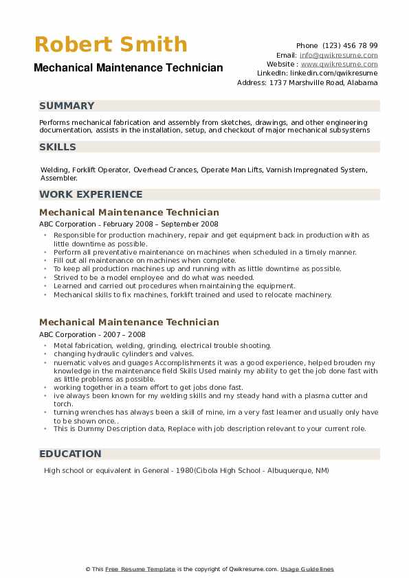Mechanical Maintenance Technician Resume example