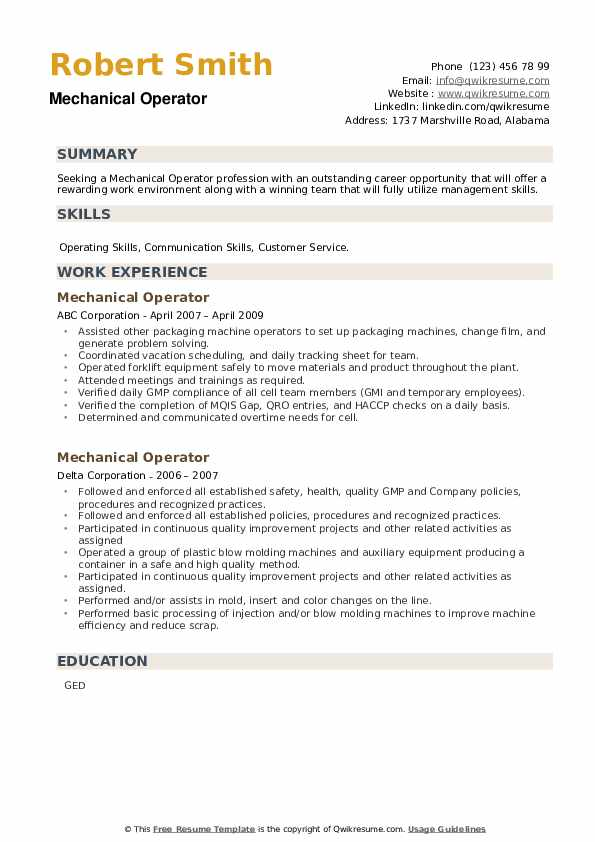 Mechanical Operator Resume example