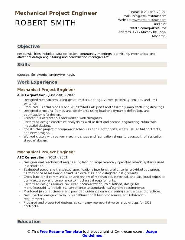 Mechanical Project Engineer Resume example