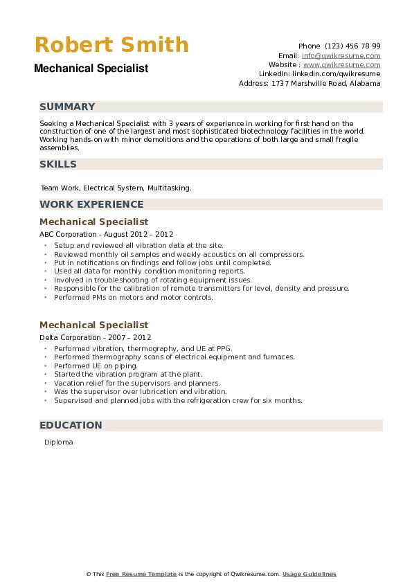 Mechanical Specialist Resume example
