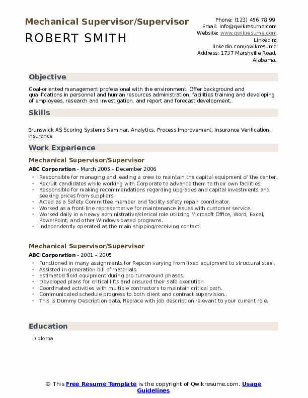mechanical supervisor resume samples  qwikresume