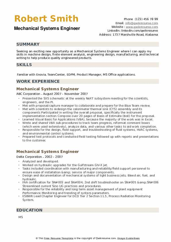 Mechanical Systems Engineer Resume example