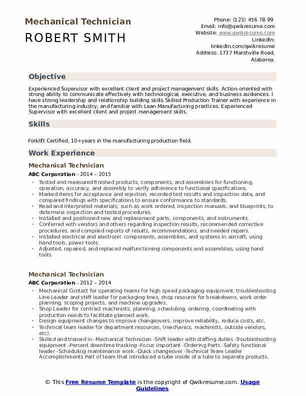 Mechanical Technician Resume Samples Qwikresume