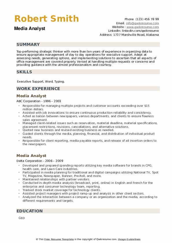 Media Analyst Resume example