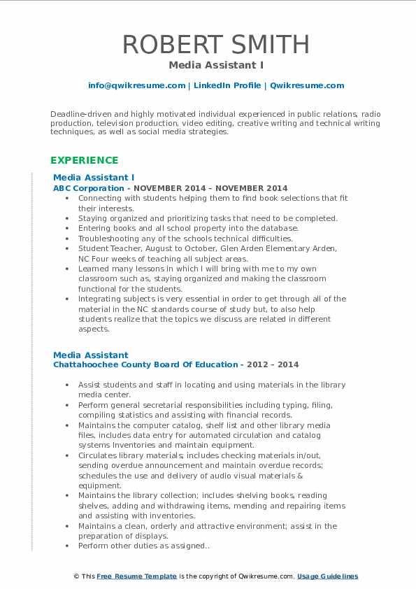 media assistant resume samples  qwikresume