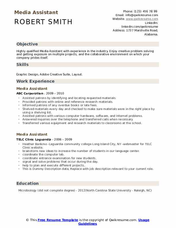 Media Assistant Resume example