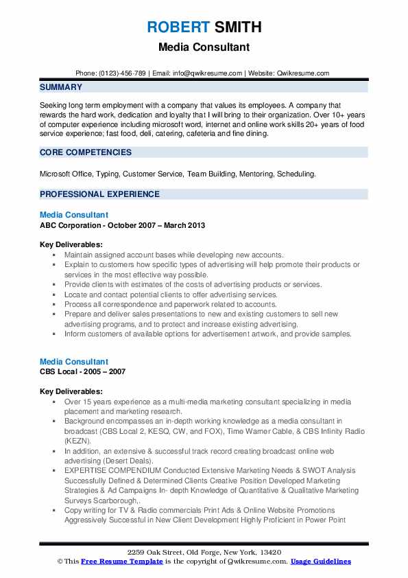 Media Consultant Resume example