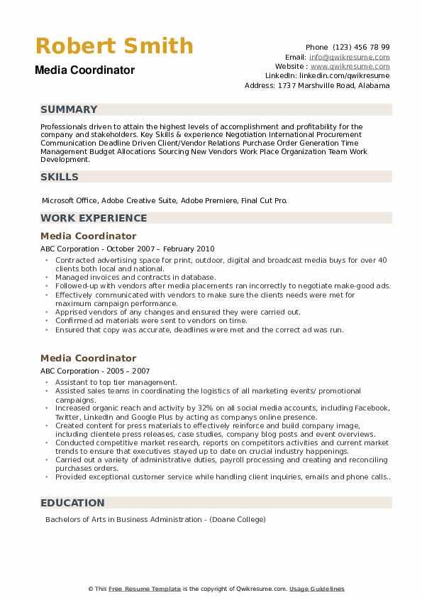 Media Coordinator Resume example