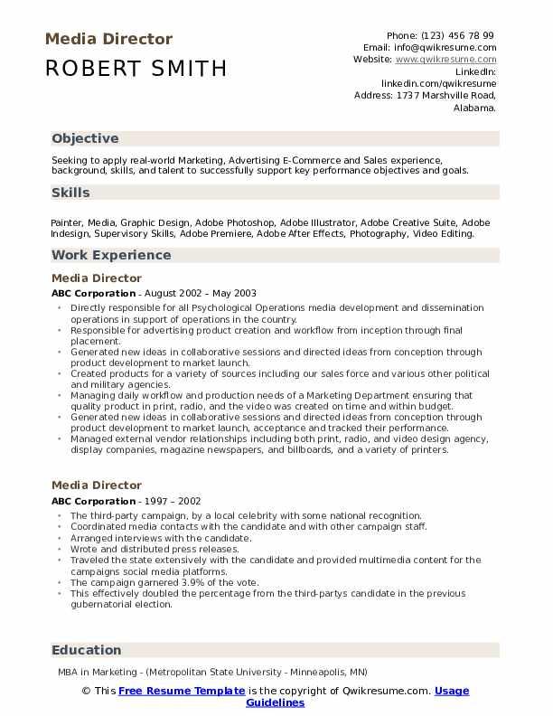 Media Director Resume Model