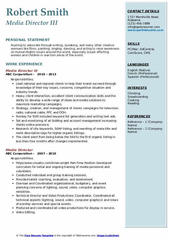 Media Director III Resume Format