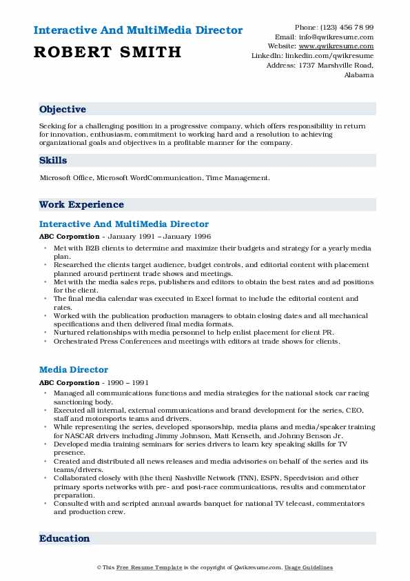 Interactive And MultiMedia Director Resume Model