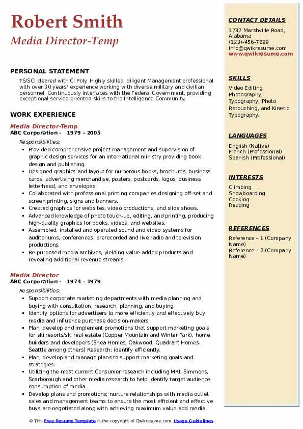 Media Director-Temp Resume Example