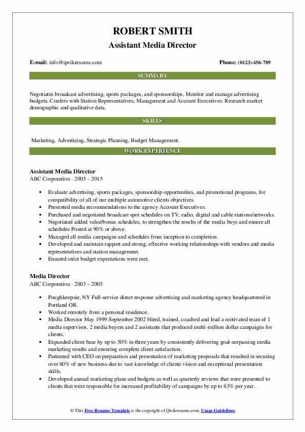 Assistant Media Director Resume Model