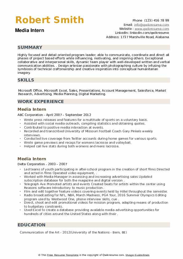 Media Intern Resume example