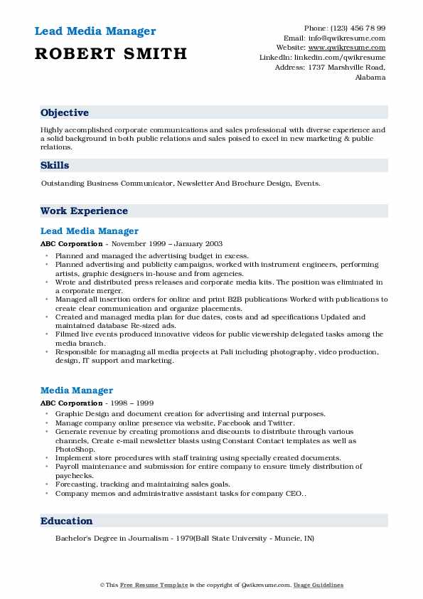Lead Media Manager Resume Format