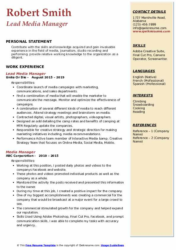 Lead Media Manager Resume Example