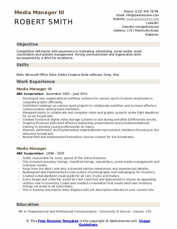 Media Manager III Resume Template