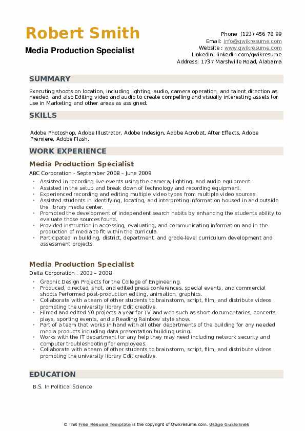 Media Production Specialist Resume example