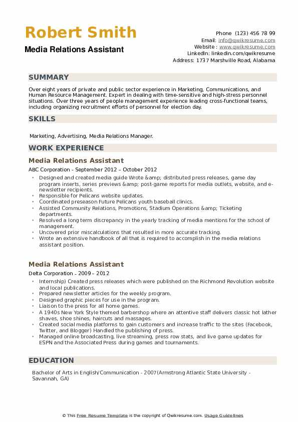 Media Relations Assistant Resume example
