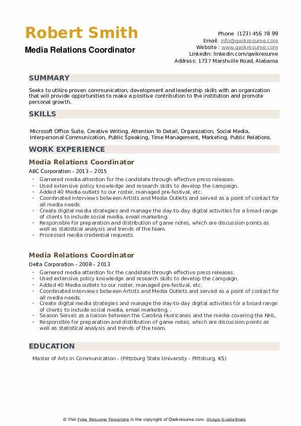 Media Relations Coordinator Resume example