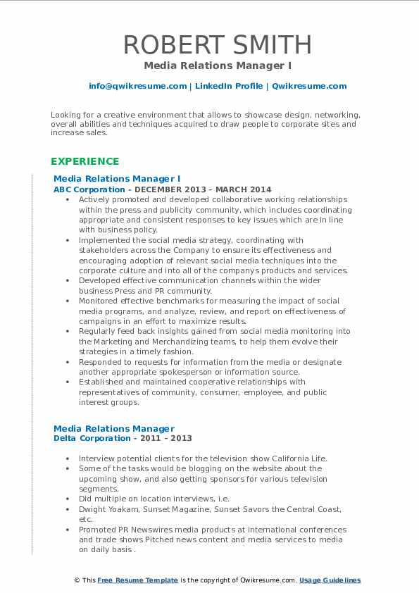 Media Relations Manager Resume Samples | QwikResume