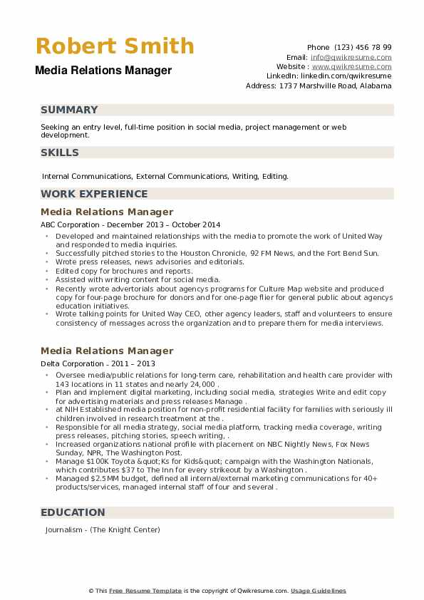 Media Relations Manager Resume example