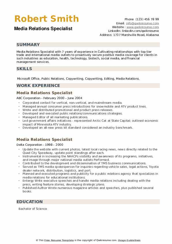 Media Relations Specialist Resume example