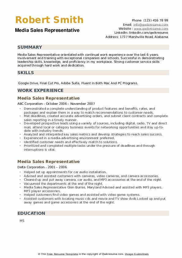 Media Sales Representative Resume example