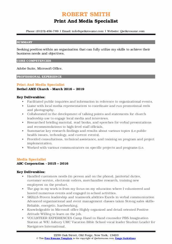 Print And Media Specialist Resume Template