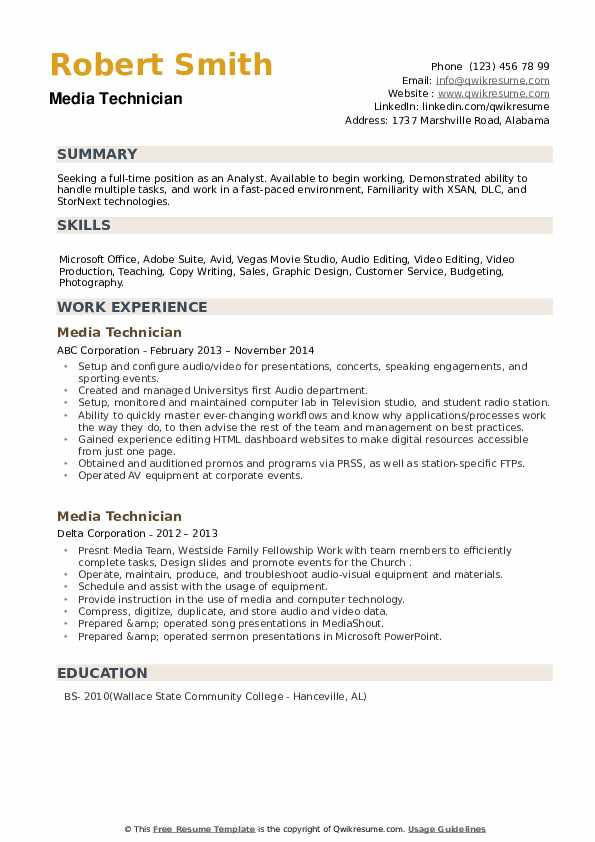 Media Technician Resume example