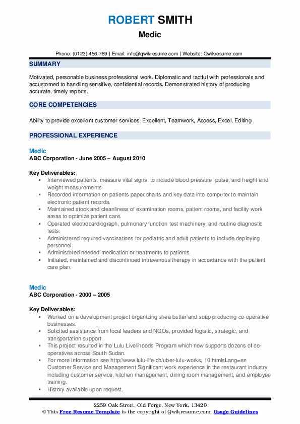 Medic Resume example